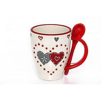 12.5x8.5cm Double Heart Mug & spoon Ceramic Red