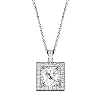 14K White Gold Moissanite by Charles & Colvard 8mm Square Pendant Necklace, 3.52cttw DEW