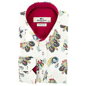 طباعة نسيج كلاوديو لوجلي الفراشة قميص رجالي