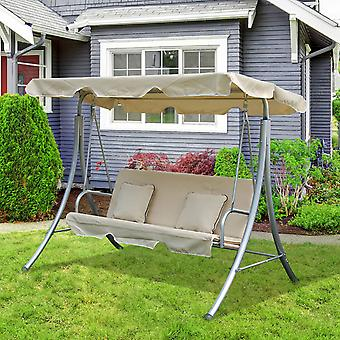 Outsunny GARDEN SWINGING HAMMOCK SWING SEAT CHAIR BENCH LUXURY 3 SEATER +2 FREE CUSHIONS
