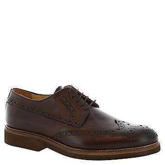 Leonardo Schuhe Man handgemachte Schnürschuh mit Brogues aus braunem Leder