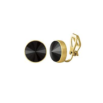 Eternal Collection Treasure Jet Black Crystal Gold Tone Stud Clip On Earrings