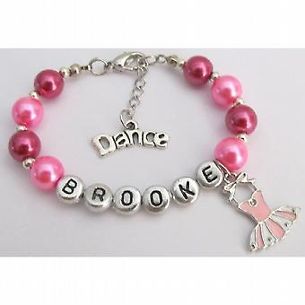 Pink Ballet Charm Dance Bracelet with Dance Charm