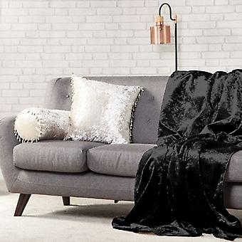 Het veranderen van Sofa's 140cm x 240cm zachte geplette fluwelen gooien-Ebony