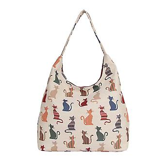 Cheeky cat shoulder hobo bag by signare tapestry / hobo-cheky
