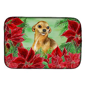 Carolines Treasures  CK1306DDM Chihuahua Poinsettas Dish Drying Mat
