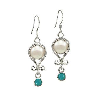 Eternal Collection December Turquoise And Pearl Sterling Silver Birthstone Drop Pierced Earrings