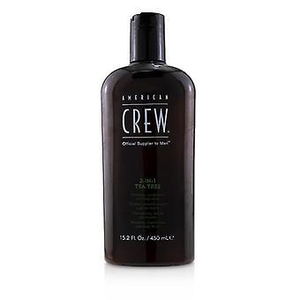 American Crew barbati 3-IN-1 Tea Tree Șampon, balsam și corp Wash 450ml/15.2 oz
