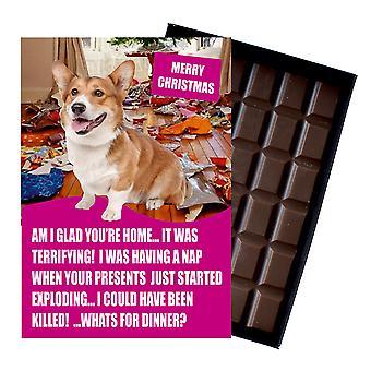 Welsh Corgi śmieszne Boże Narodzenie prezent dla psa kochanka Pudełkowane czekolada powitanie karta Xmas Present