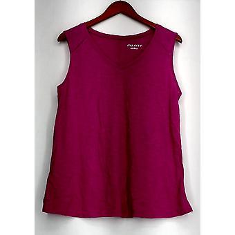 Ava & Viv Top X (14W) V-Neck Slub Knit Tank w/ Seam Detail Fuchsia Pink