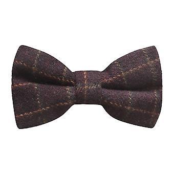 Luxury Merlot Red Tattersall Check Tweed Bow Tie