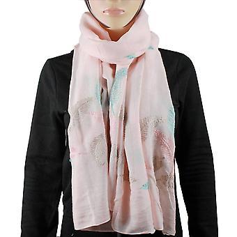 Βαμβάκι 100% κασκόλ φτερό ροζ φως