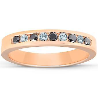 1/4ct Black & White Diamond Ring 14K Rose Gold Womens Wedding Stackable Band