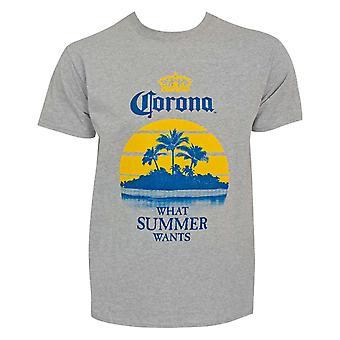 Corona What Summer Wants Men's Gray T-Shirt