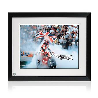 Framed Carl Fogarty Signed Superbikes Photo
