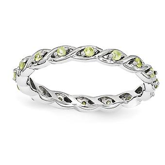 2.5mm 925 Sterling Silver Polished Prong set Stackable Expressions Peridot Ring Jewelry Gifts for Women - Ring Size: 5 t