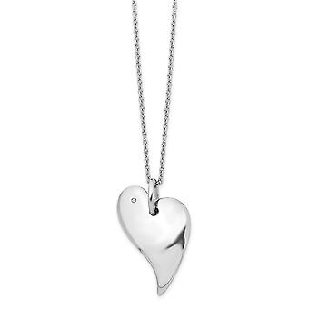 925 Sterling Silver Polished Gift Boxed Rhodium plated Lobster Claw Closure White Ice .01ct. Diamond Love Heart Necklace