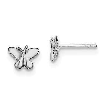 925 Sterling Silver Rh Plated for boys or girls Polished Butterlfy Post Earrings - .8 Grams