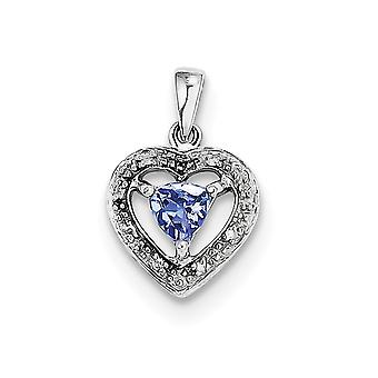 925 Sterling Silver Polished Prong set Open back Rhodium plated Fancy cut out back Tanzanite and Diamond Pendant Necklac