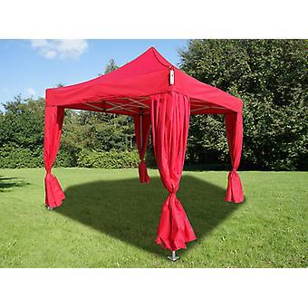 Carpa plegable FleXtents PRO 3x3m Rojo, Incl. 4 cortinas decorativas