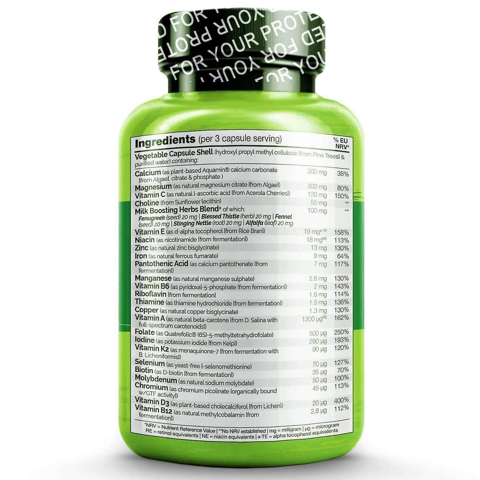 Postnatal whole food multivitamin for new mums with natural vitamins and herbs - 180 caps (vegan)