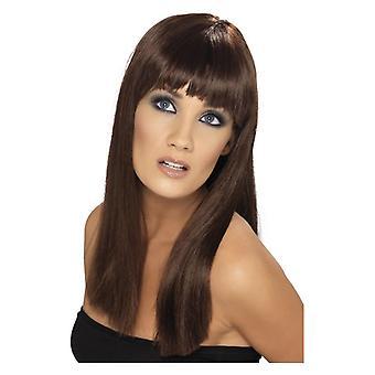 Womens peruk Glamourama brun maskeraddräkter tillbehör
