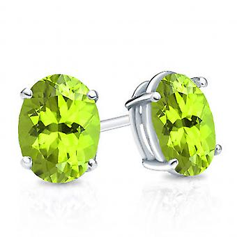 Dazzlingrock Collection 10K 6X4 MM Each Oval Peridot Ladies Solitaire Stud Earrings, White Gold