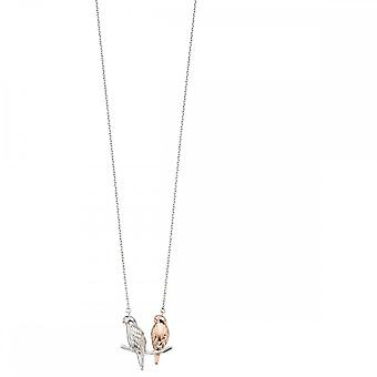 Elements Silver Mix Plating Rose Silver Parakeet Necklace N4181