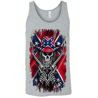 Men-apos;s Tank Top Confederate Rebel Flag Cowboy Skeleton