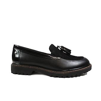 Tamaris 24704 Black Leather Womens Slip On Loafer Shoes