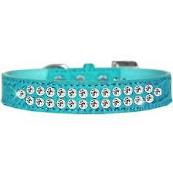 Turquoise Leather Dog Collar matching Lead Set
