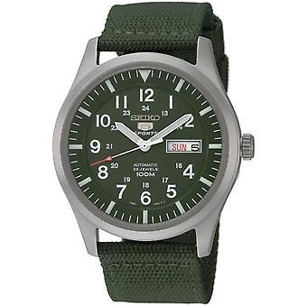 Seiko 5 urheilua automaattinen Khaki vihreä sotilaallinen tyyliin Miesten Watch SNZG09K1
