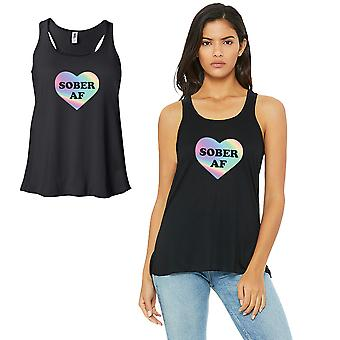 Sober AF-SPECTRUM Work Out Womens Black Tank Top Vinyl Printed