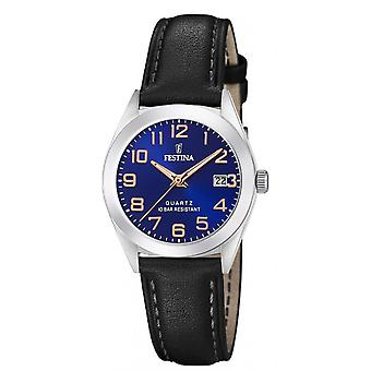 Montre Festina F20447-2 - CLASSIQUE Dateur Bo�tier Acier Argent� Bracelet Cuir Noir Cadran Bleu Femme