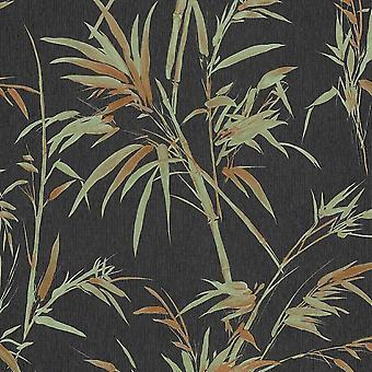 Green Rot Bamboo Vinyl Wallpaper Black Metallic Paste The Wall A.S Creation