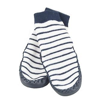 SKEANIE Leather and Cotton Moccasin Baby Socks Navy Stripes