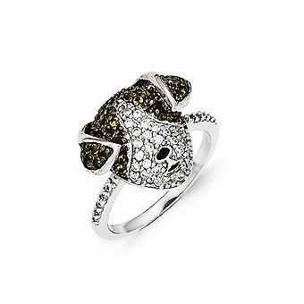 Cheryl M 925 Sterling Silver Enameled Cubic Zirconia and Simulated Smoky Quartz Puppy Ring Jewelry Gifts for Women - Rin