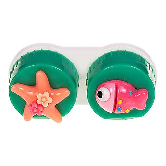 Dark Green Fish Contact Lens Case