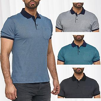 Mens Basic Poloshirt dots short sleeve collar summer club shirt cotton design