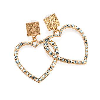 Gold Colour Crystal Heart Design 5.5cm Drop Earrings