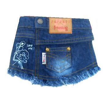 Freedog джинсовая юбка синий T-1 (собаки, Одежда для собак, платья)