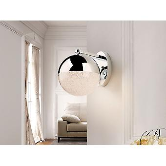 Schuller Sphere - Wall lamp of 1 light, made of metal, chrome finish. Polycarbonate spherical shade of 0 cm. with texturized interior and chromed metal.  9.6 W LED. 3,000 K.  672 lm. - 793371