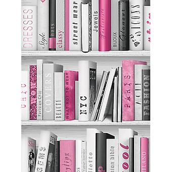 Mode Bibliothek Bücherregal Wallpaper Rosa Muriva 139501