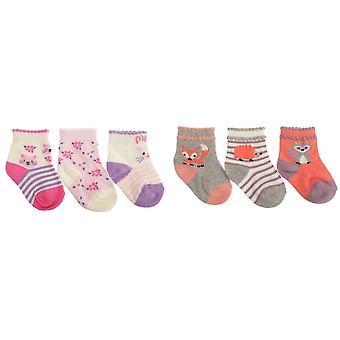 Baby jenter bomull rik diverse dyr Design sokker (pakke med 3)
