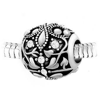 Charm perle ornemental orn� de cristaux et acier par SC Crystal BEA0057