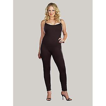 Womens Plus Size Full Figure Black Basic Unitard Bodystocking Bodysuit