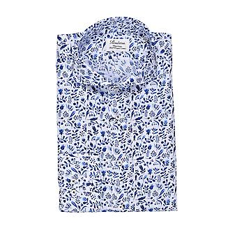 Stenstroms Fitted Long Sleeved Shirt Blue Floral