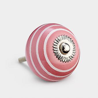 Ceramic Door Knob - Pink / White - Stripe