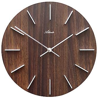 Atlanta 4419/20 Wall clock quartz analog wood dial walnut colors round