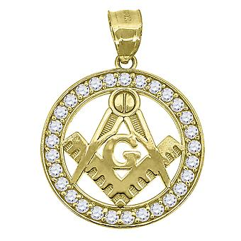 10k Gold CZ Cubic Zirconia Simulated Diamond Mens Masonic Height 31.1mm X Width 22.8mm Religious Charm Pendant Necklace